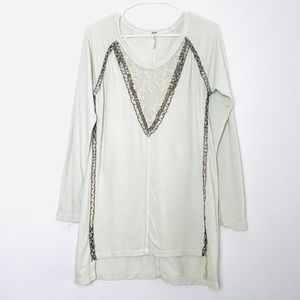 Free People relaxed  embellished sweater size XS